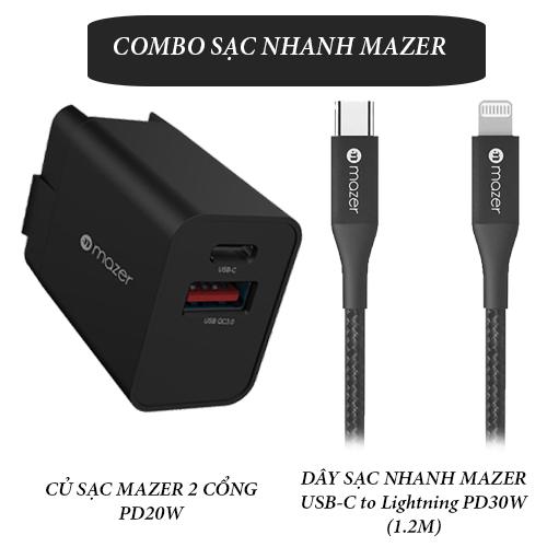 Combo Mazer Củ Sạc Nhanh 20W Và Dây Cáp ALU.DURA.TEK II USB-C to Lightning 30W