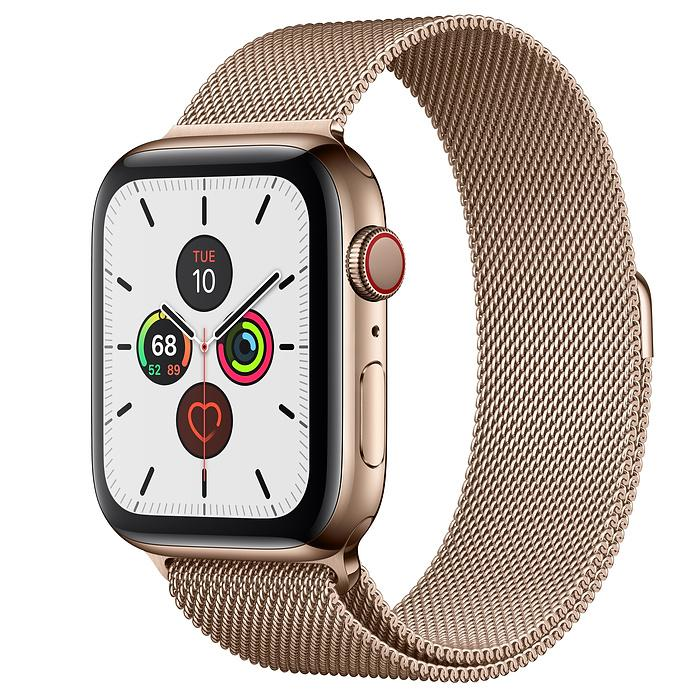 APPLE WATCH SERIES 5 44MM GOLD STAINLESS STEEL CASE WITH MILANESE LOOP (LTE)