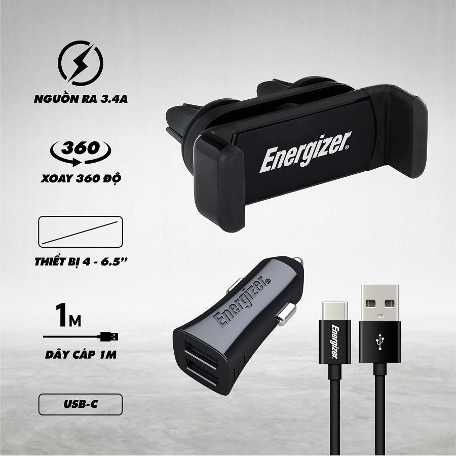 Bộ sạc xe hơi 3.4A 2USB + cáp USB TYPE C CKITB2CC23