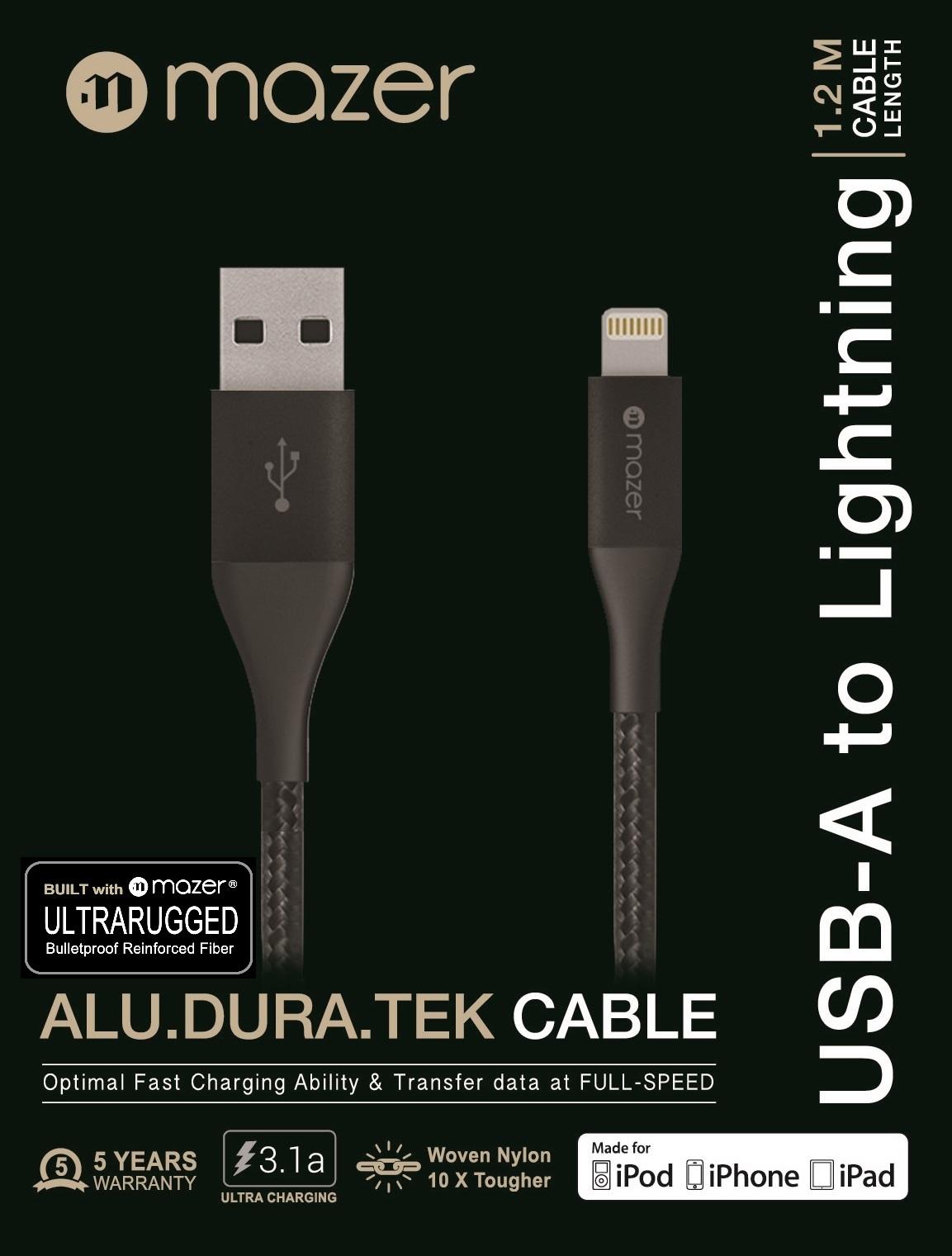 Cáp MAZER CBL MFI USB A TO LIGHTNING / 3.1A (1.2M)