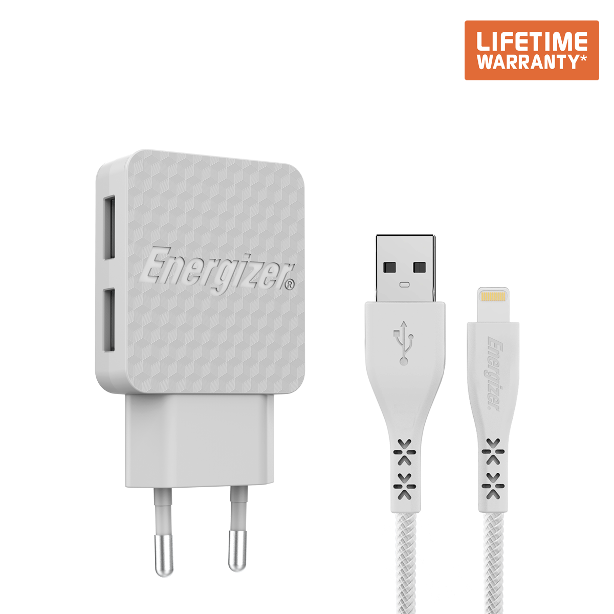 Sạc Energizer Lifetime warranty 3.4A 2USB kèm cáp Lightning-AC2CEULLIM